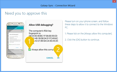 Galaxy-Sync Connection Wizard